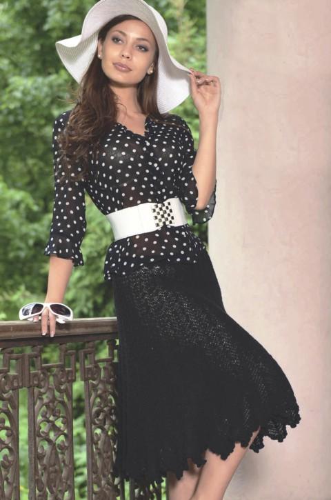 длинная черная юбка из ириса