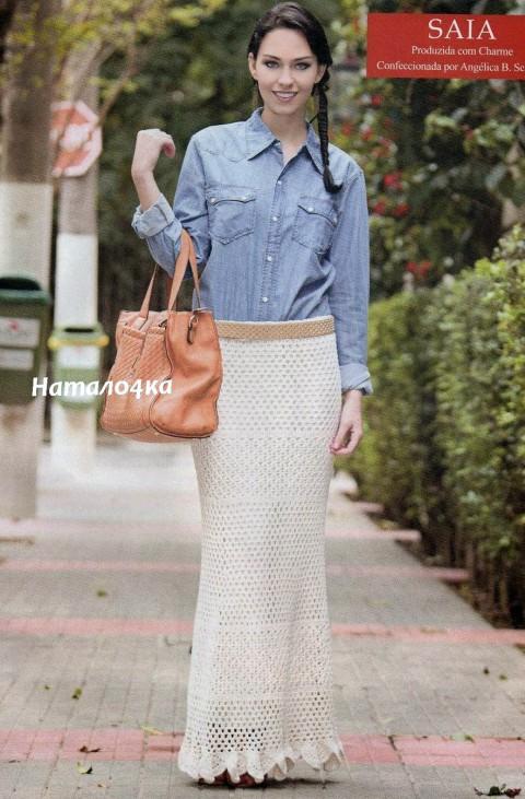 фото бежевой длинной юбки