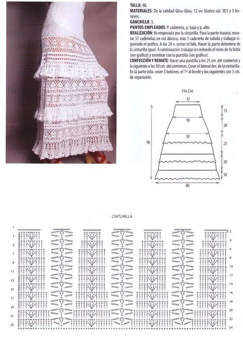 схема вязаной крючком длинной юбки