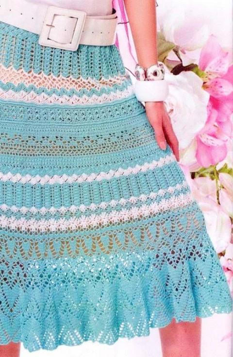 длинная бирюзовая юбка крючком