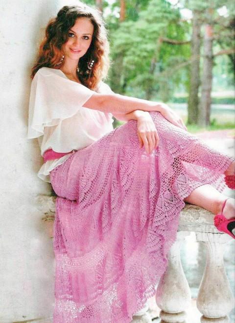 фото длинной юбки крючком