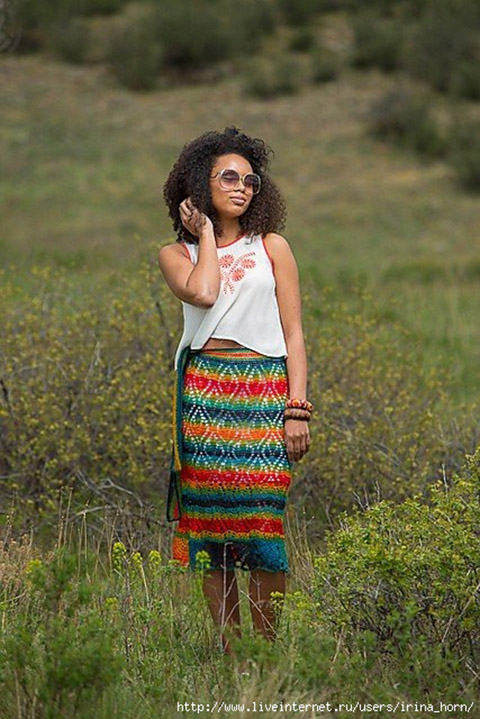 фото длинной вязаной юбки