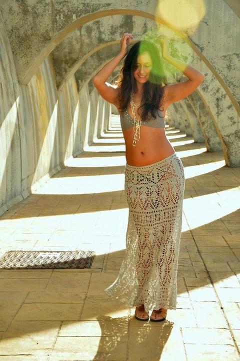 длинная юбка крючком от Ольги