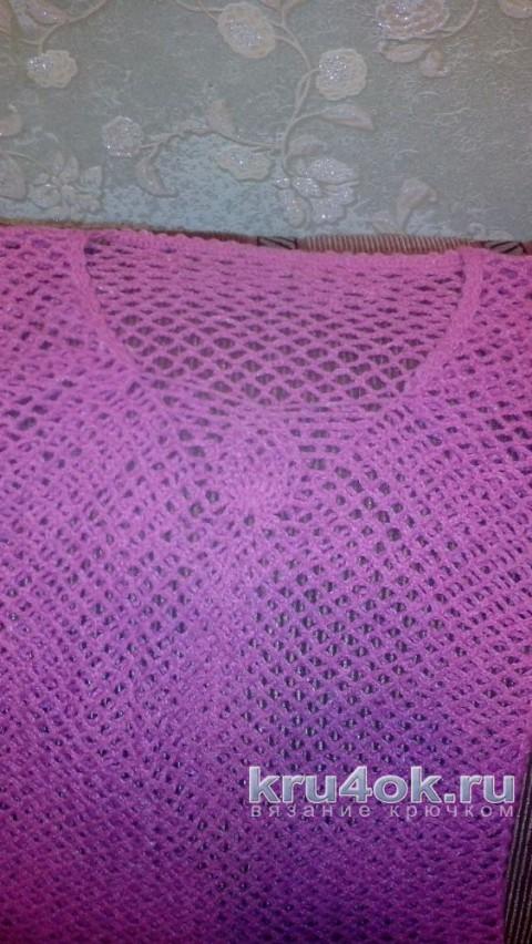 Ажурный пуловер крючком. Работа Ирины Колотуша вязание и схемы вязания