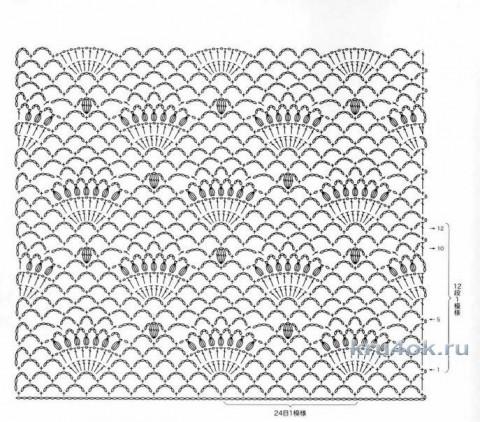 схема жилета с ажурными узорами
