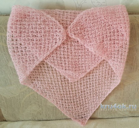 Легкий мохеровый платок крючком. Работа Линды Яблонской вязание и схемы вязания
