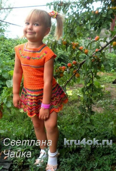 Летний вязаный костюм Оранжевое лето. Работа Светланы Чайка