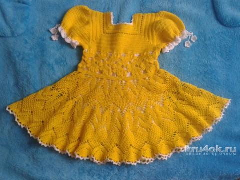 Платье для девочки крючком. Работа Марии вязание и схемы вязания