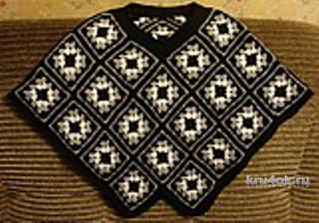 Пончо крючком. Работа Анны Черновой вязание и схемы вязания