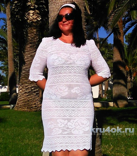 Платье Белые розы крючком. Филейное вязание