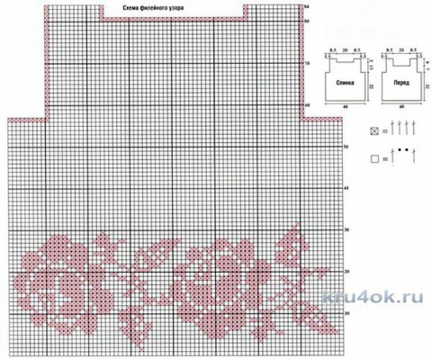Туника Белые розы крючком. Работа Анны Бутиковой вязание и схемы вязания