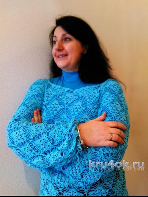 Вязаный блейзер Бирюзовая лоза. Работа Анны Бутиковой вязание и схемы вязания