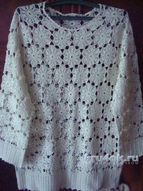 Женская блуза крючком. Работа Анжелы