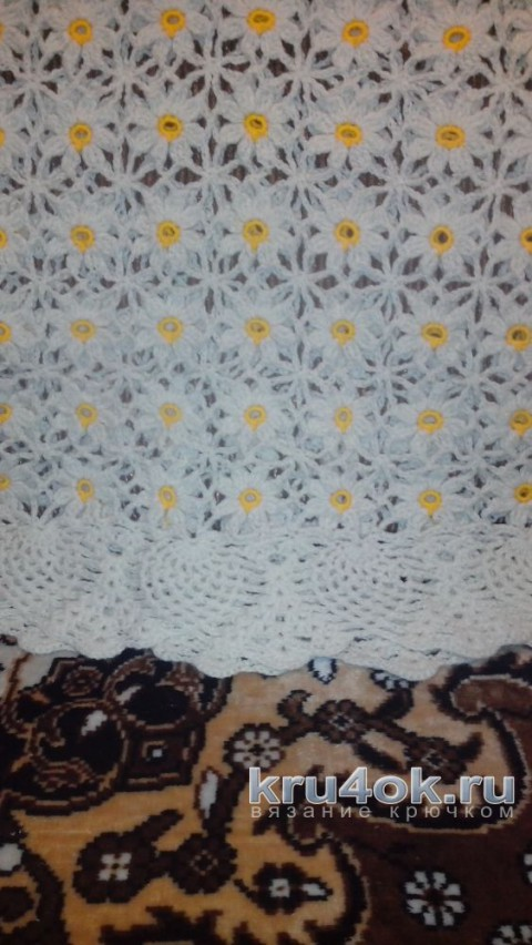 Женский пуловер из ромкашек крючком. Работа Ирины Колотуша вязание и схемы вязания