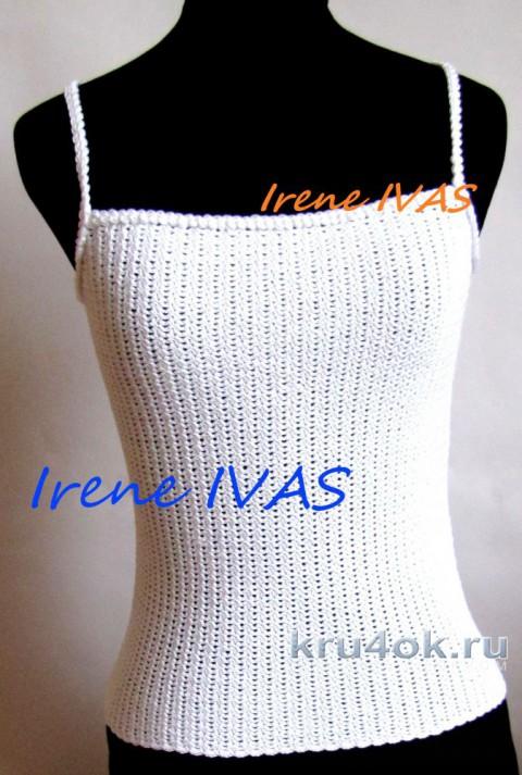 Женский топ Белоснежный крючком. Работа Irene IVAS вязание и схемы вязания