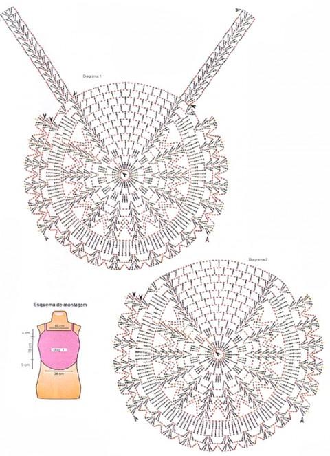 кроп-топ крючком схемы вязания