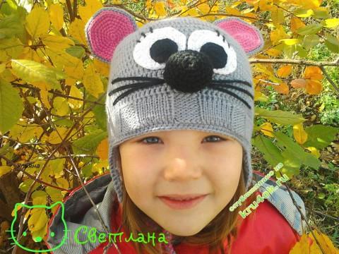 детская шапка с ушками Мышуня