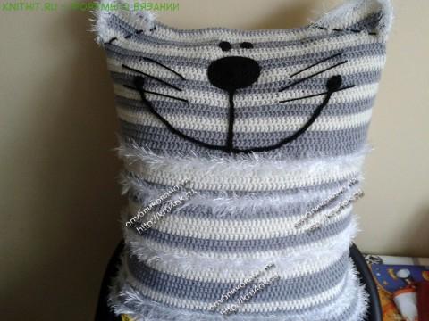 кот подушка крючком фото