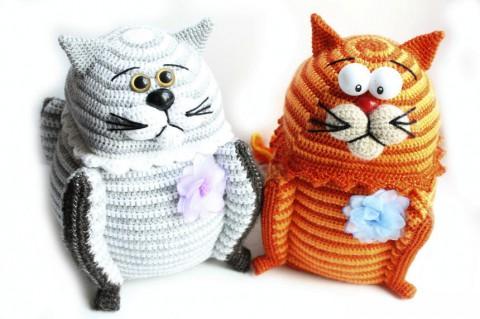 шкатулка - кот крючком фото