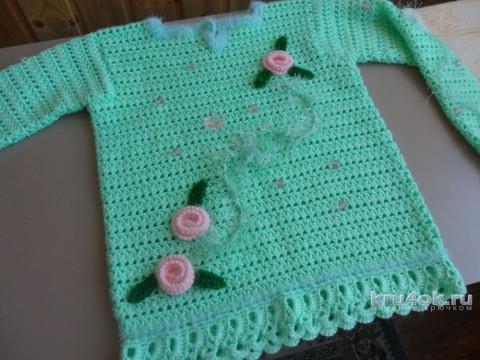 Детский пуловер Ласковый май, ажурная вязка
