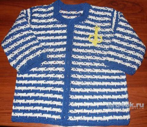 Детский жакет крючком. Работа Елены вязание и схемы вязания