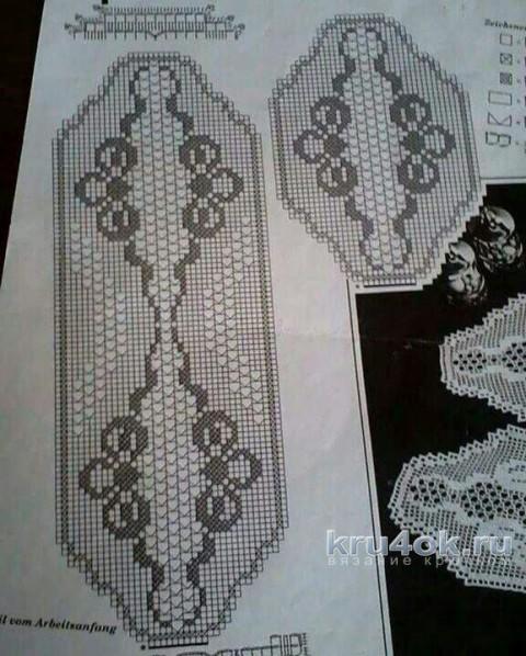 Дорожка в филейной технике Нежная. Работа Людмилы Кузьминской вязание и схемы вязания