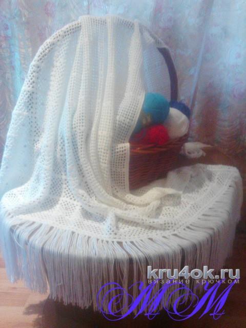 Филейная шаль крючком. Работа Марины Михайловны вязание и схемы вязания