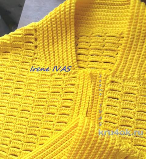 Лимонная куртка-бомбер (пилот) крючком. Работа Irene IVAS вязание и схемы вязания