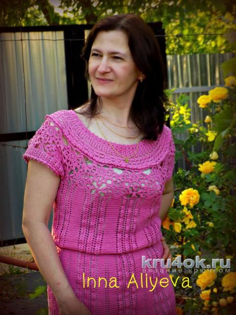 Платье крючком Leonora от Vanessa Montoro. Работа Inna Aliyeva вязание и схемы вязания