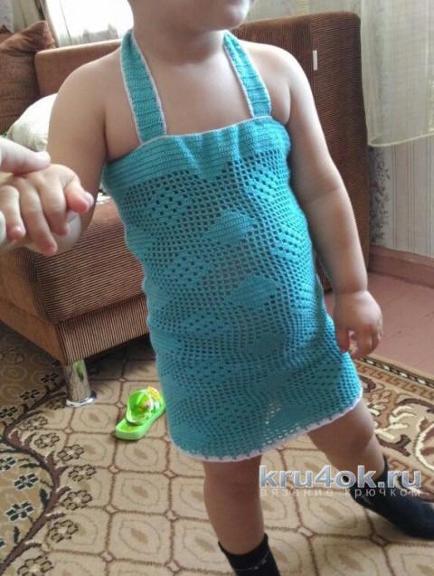 Сарафан для девочки с узором Ромбы. Работа Эльвиры Ткач вязание и схемы вязания
