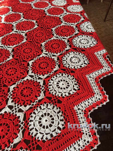 Скатерть ажурная из мотивов. Работа Надежды Борисовой вязание и схемы вязания