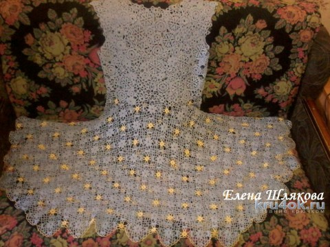 Женское платье крючком. Работа Елены Шляковой вязание и схемы вязания