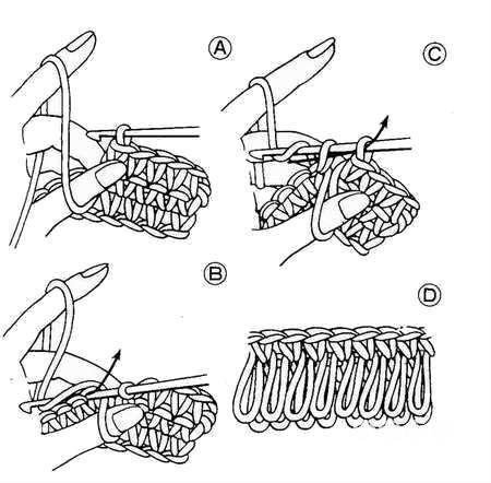Схемы вязания вытянутых петель (выбирайте наиболее вам понятную):
