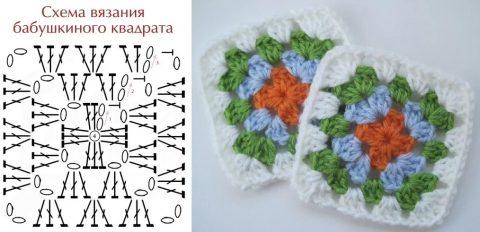 схемы вязания бабушкиного квадрата