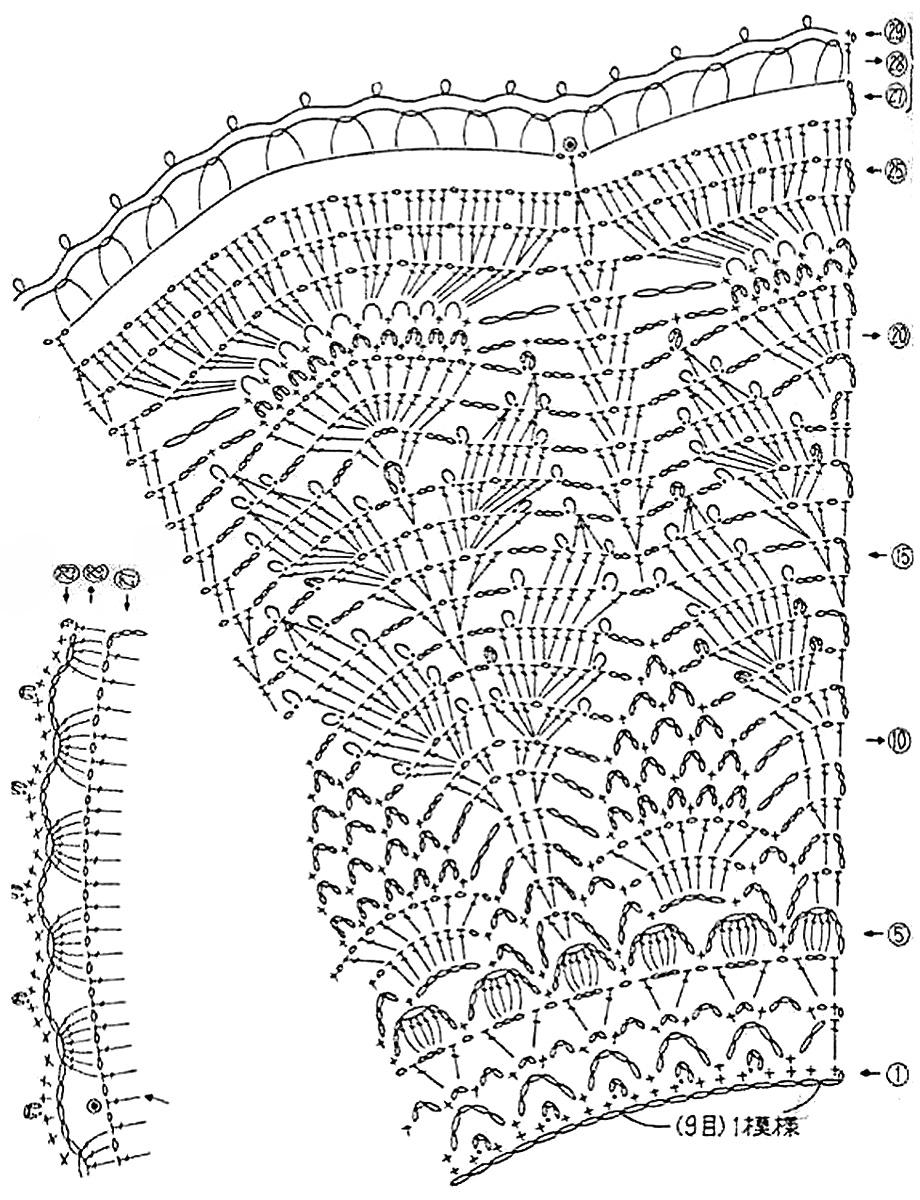13 вязаных крючком манишек с описанием и схемами