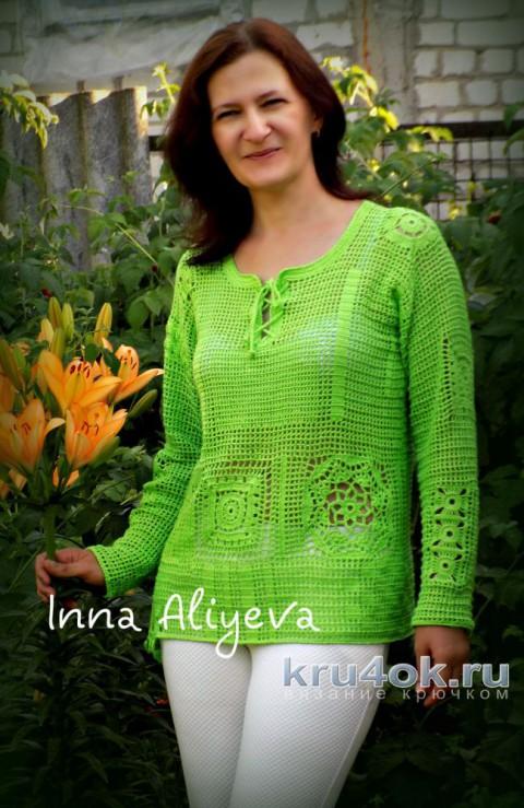 Филейная кофточка цвета лайм. Работа Inna Aliyeva вязание и схемы вязания