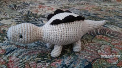Игрушка динозаврик Динка крючком. Работа Ксении вязание и схемы вязания