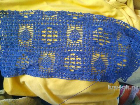 Комбинированное платье крючком. Работа Ирины вязание и схемы вязания