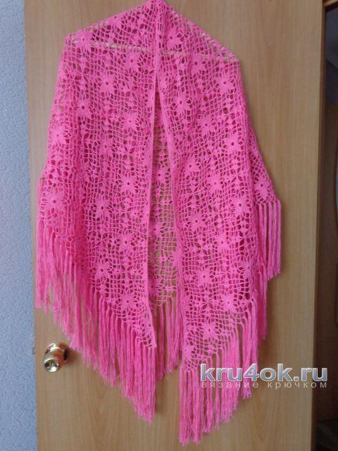 Летняя шаль крючком. Работа Надежды Лавровой вязание и схемы вязания