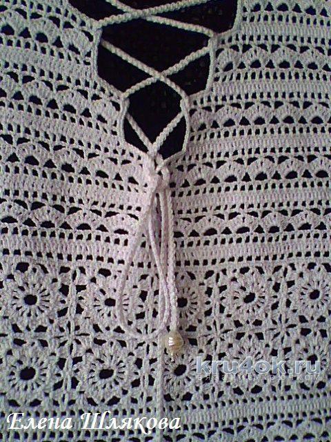 Платье Белая мережка. Работа Елены Шляковой вязание и схемы вязания