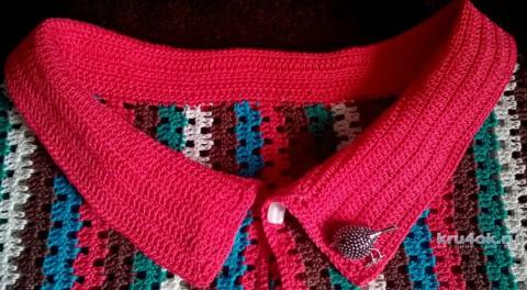 Полосатая кофточка с воротником крючком. Работа Елены Шевчук вязание и схемы вязания