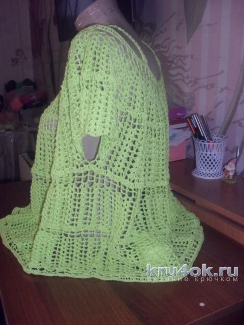 Женская туника крючком. Работа Натальи вязание и схемы вязания