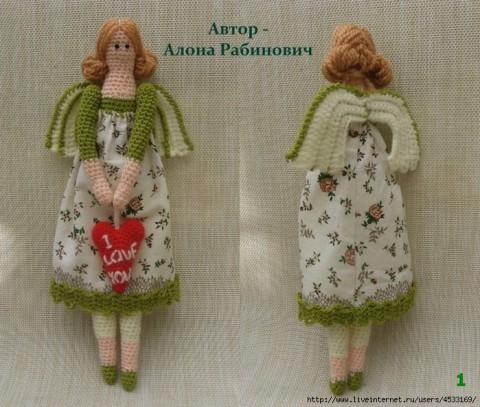 фото вязаной крючком куклы Тильды