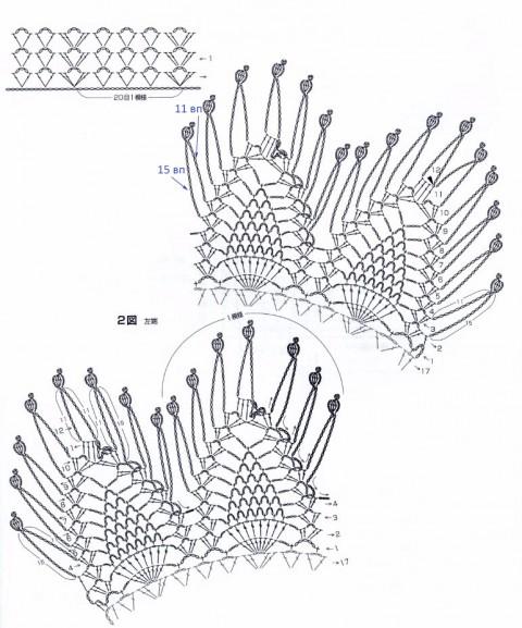 манишка крючком схемы вязания