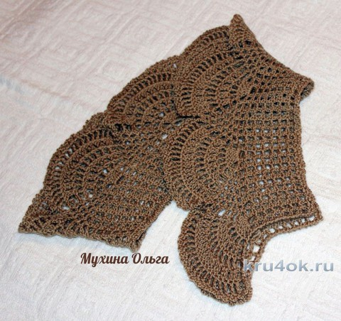 Ажурный шарфик. Работа Мухиной Ольги вязание и схемы вязания