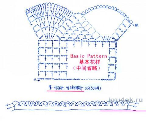 Схема шарфа, связанного ажурным узором
