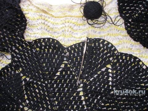Черная ажурная кофточка крючком. Работа Елены вязание и схемы вязания