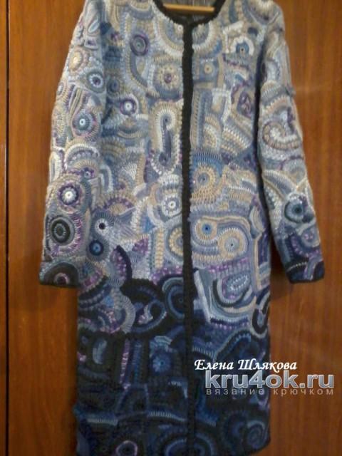 Пальто в технике фриформ с эффектом Деграде. Работа Елены Шляковой вязание и схемы вязания
