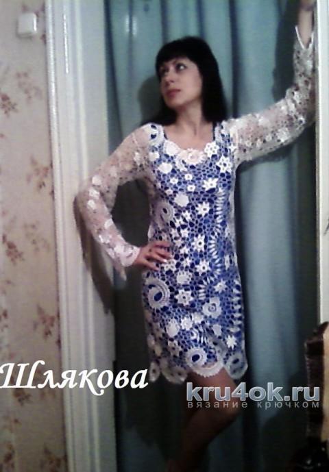 Платье Белая Ирландия крючком. Работа Елены Шляковой вязание и схемы вязания