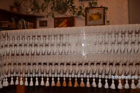 Прямоугольная скатерть крючком. Работа Светланы вязание и схемы вязания